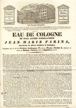 Prospectus datant de 1811 et vantant les mérites de l'Eau de Cologne.
