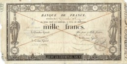 Note of 1000 francs germinal produced in 1803.