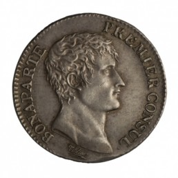 Silver germinal franc with portrait of Napoleon Bonaparte First Consul drawn and engraved by Tiolier © Monnaie de Paris, Historical Collections