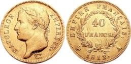 Golden coin minted under the First Empire and presenting the Laureate head of Napoleon I.