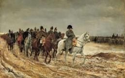 Campagne de France, en 1814 par Ernest Meissonier, huile sur toile, 1864. Napoléon Bonaparte (1769-1821) et son personnel sont indiquées de Soissons revenir après la bataille de Laon.