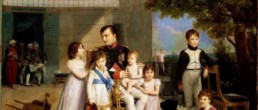 Napoleon I on the terrace of the Château de Saint-Cloud surrounded by his family's children. Oil on canvas from 1810 by Louis DUCIS (1775 - 1847). Preserved at the National Museum of the Palace of Versailles © Photo RMN-Grand Palais - G. Blot