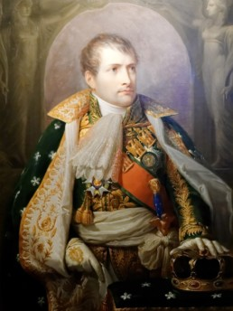 Napoléon Ier représenté en Roi d'Italie. Huile sur toile peinte par Andrea Appiani (1754 - 1817) circa 1805. Exposée au Trésor de la Hofburg, Vienne (Autriche)