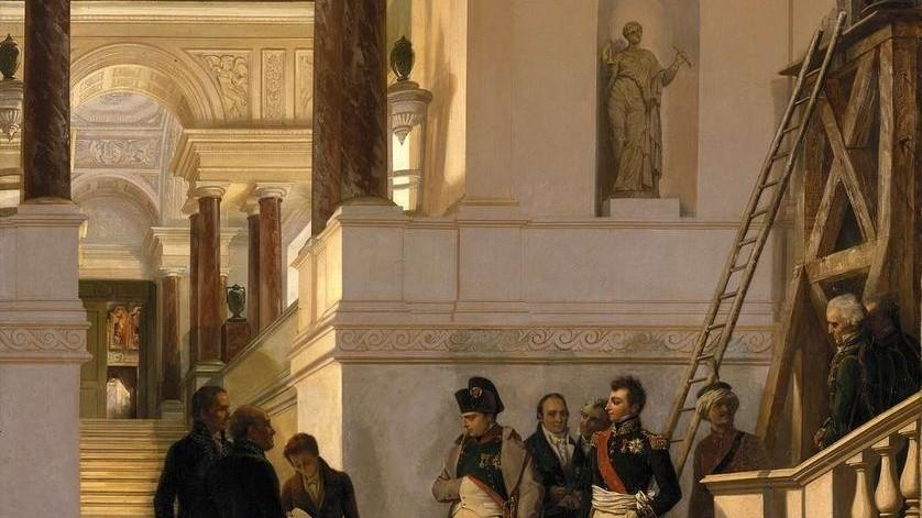 COUDER Louis-Charles-Auguste (1789 - 1873). Napoléon Ier visitant l'escalier du Musée du Louvre. © Photo RMN-Grand Palais