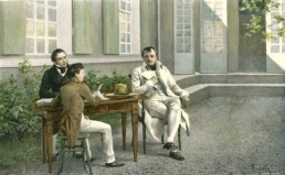 Napoleon dictating his Memoirs to Las Cases and his son. Based on a watercolor by Felician Myrbach (1853 - 1940) © Classic Literature