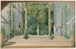 Louis GARNERAY (1783 - 1857), Intérieur de la serre-chaude à la Malmaison, aquarelle © RMN-Grand Palais (musée des châteaux de Malmaison et de Bois-Préau) / Franck Raux