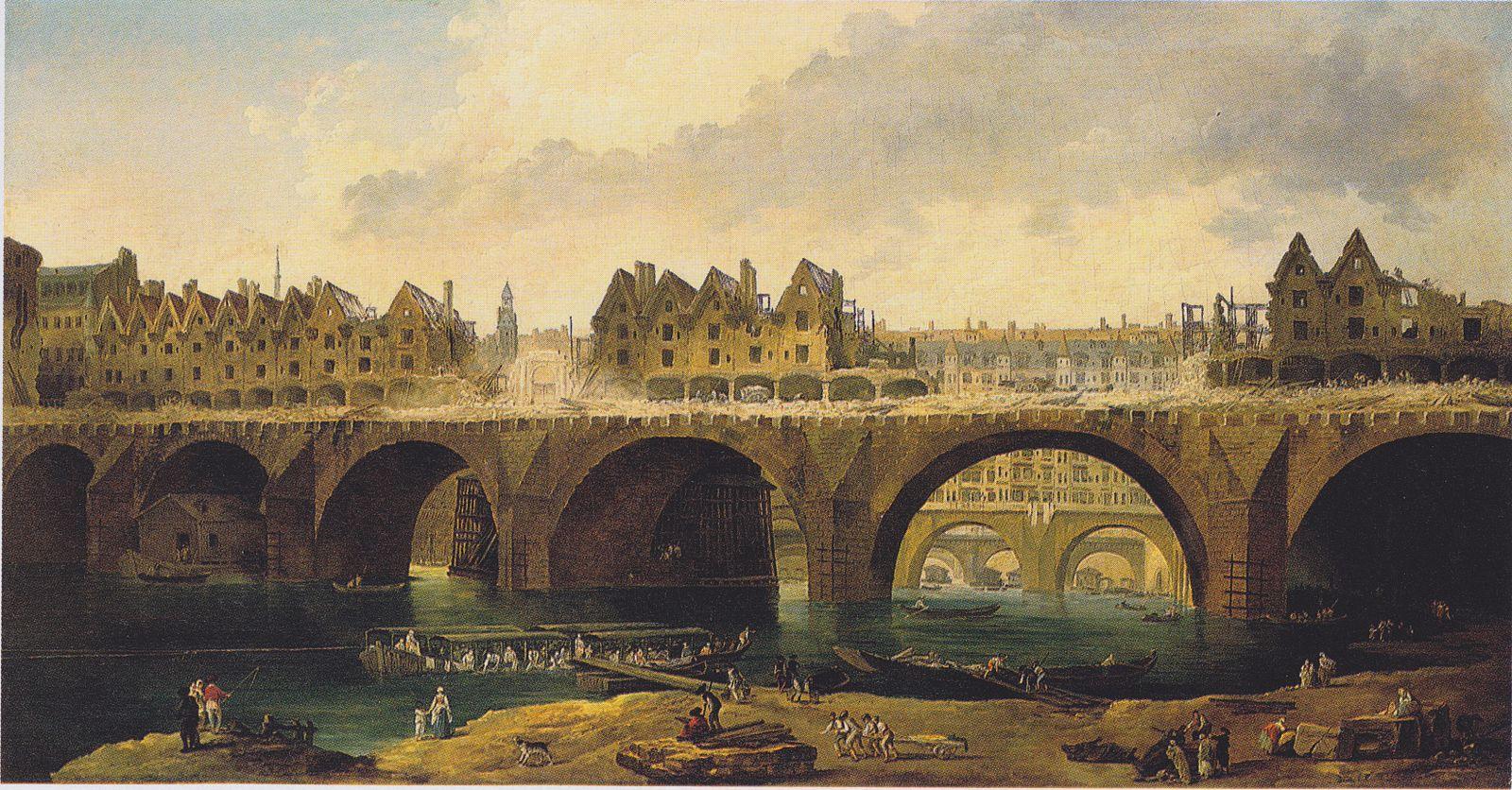 Hubert Robert, La démolition des maisons du pont Notre-Dame. Huile sur toile, vers 1786, collection Staatliche Kunsthalle Karlsruhe